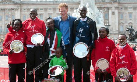 Edna Kiplagat of Kenya, Martin Lel of Kenya, Mary Keitany of Kenya, Prince Harry, Wilson Kipsang of Kenya, Priscah Jeptoo of Kenya and Adil Annani of Morocco