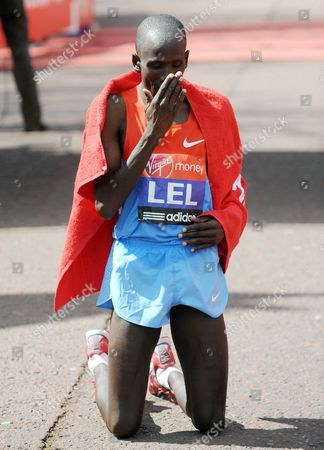 Martin Lel of Kenya finishes second in the 2012 London Marathon