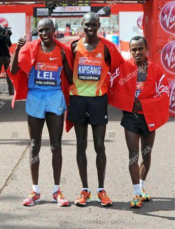 Martin Lel of Kenya, Wilson Kipsang of Kenya and Adil Annani of Morocco