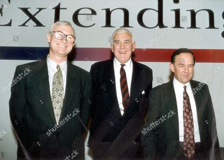 Left To Right: John Birt (director-general Designate) Marmaduke Hussey (bbc Chairman) And Sir Michael Checkland (outgoing Director-general)