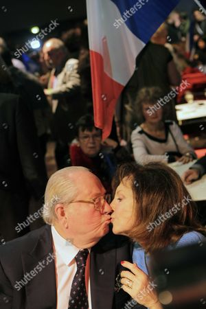 Stock Picture of Jean-Marie Le Pen and wife Jany Le Pen