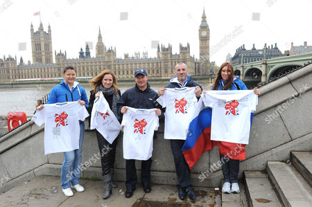 L-R Dinara Safina, tennis medalist, Maria Kiseleva three times synchronised swimming champion, Alexei Nemov four times Olympic gymnastics champion, Buvaisar Saitiev three times Olympic free-style wrestling champion and Svetlana Masterkova 1996 double Olympics athletics champion in th 800m and 1500m.
