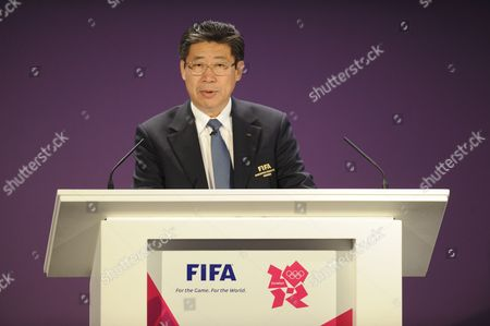 Stock Image of Chairman of the organising committee Jilong Zhang speaks at the Olympic Football Tournament Draw