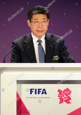 Stock Photo of Chairman of the organising committee Jilong Zhang speaks at the Olympic Football Tournament Draw