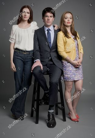 Stock Picture of Bitsie Tulloch and Marguerite Moreau with Director Adam Christian Clark