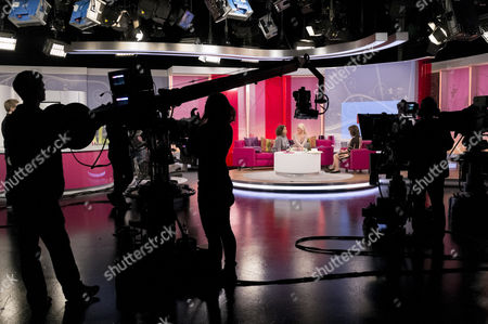Stock Picture of Belinda Owusu and Pippa Fulton with Lorraine Kelly, studio, set, camera.