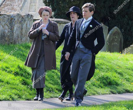Sophie McShera (Daisy the kitchen maid), Siobhan Finneran (Sarah O'Brien) and Allen Leach (Tom Branson)