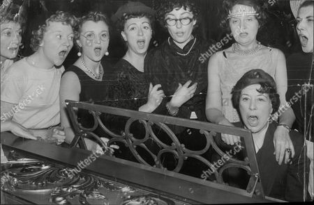 Among The Man Stage Screen Television And Radio Who Are Appearing In A Christmas Ball At The Grosvenor House In Aid Of The National Spastics Society Are (from Left) Diana Churchill Dora Bryan Avril Angers Thora Hird Vera Lynn Maudie Edwards Hy Hazelll With Jose Bradley At The Piano