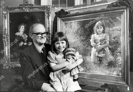Miss Pears 1979 5yo Christine Cashman With Her Portrait Painted By Artist Crispin Thornton Jones At The Royal Academy She Sits On The Lap Of Artist And Architect Sir Hugh Casson