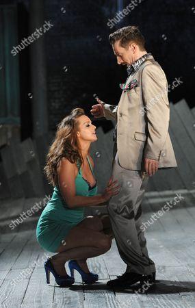 Amie Burns Walker as A Courtesan and Jonathan McGuinness as Antipholus