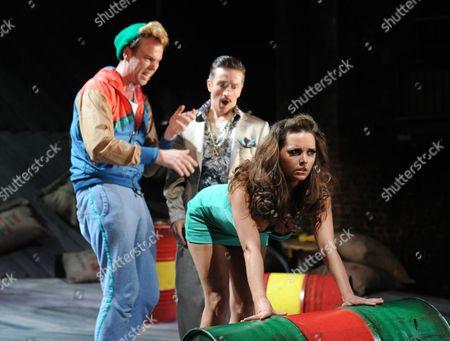 Bruce MacKinnon as Dromio, Jonathan McGuinness as Antipholus and Amie Burns Walker as a Courtesan,