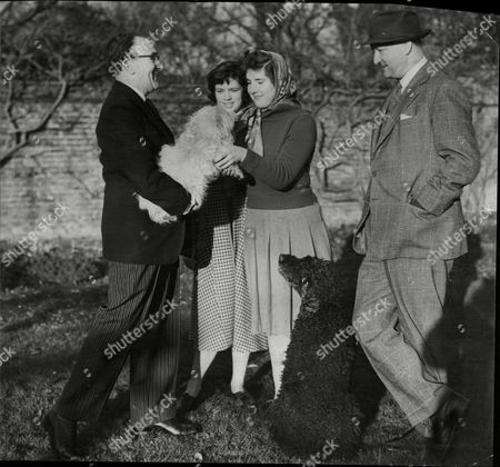 Rab Butler Very Much The Country Squire In Tweeds Went For A Walk In The Essex Countryside With His Daughter And Her Friend Ayers Very Much The Butler In Black Jacket And Stripped Trousers Was At Hand To Give 13 Year Old Sarah Butler Her Dog Before They Left