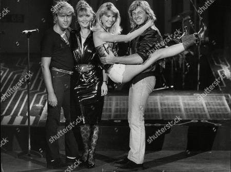 Editorial photo of Bucks Fizz Eighties Pop Group Left To Right Mike Nolan Cheryl Baker Shelly Preston And Bobby Gee