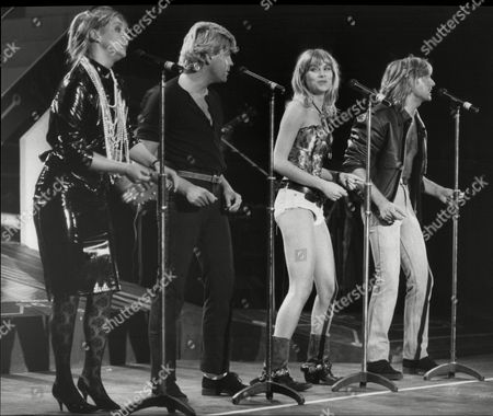 Stock Image of Bucks Fizz Pop Group Left To Right Cheryl Baker Mike Nolan Shelly Preston And Bobby Gee