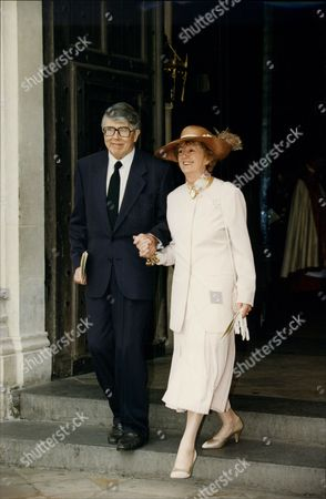 Stock Photo of Leslie Crowther (dead 9/96) And Wife Jean At Memorial Service For Commentator Brian Johnston.