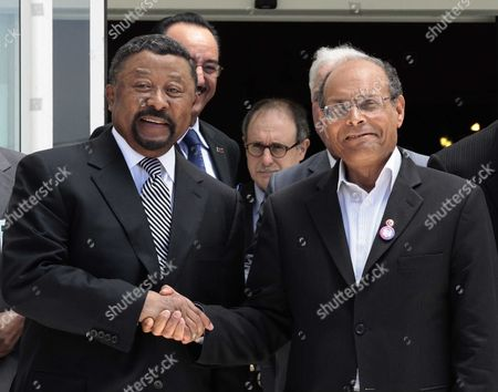 Jean Ping, President of the Commission of the African Union and Tunisian President Moncef Marzouki