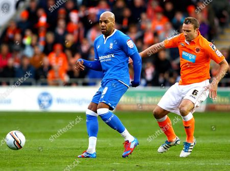 Marlon King of Birmingham City and Ian Evatt of Blackpool