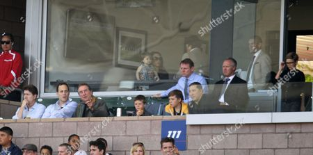 Stock Image of Jim Piddock, Lord Frederick Windsor, Eric Idle, Stuart Pearce and Warren Barton, with Victoria Beckham behind
