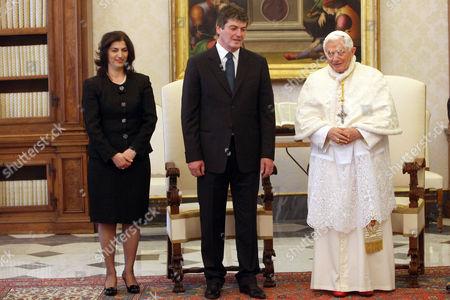 Bamir Topi, wife and Pope Benedict XVI