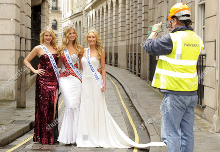 Stock Picture of Alize Lily Mounter,current Miss England, Lady Angie Sinclair,Miss England 1995 and Laura Colman, Miss England 2008