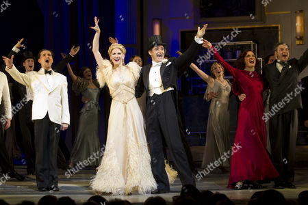 Ricardo Afonso (Alberto Beddini), Summer Strallen (Dale Tremont), Tom Chambers (Jerry Travers), Vivien Parry (Madge Hardwick) and Martin Ball (Horace Hardwick) during the curtain call on Press Night for Top Hat at the Aldwych Theatre