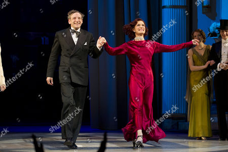 Martin Ball (Horace Hardwick) and Vivien Parry (Madge Hardwick) during the curtain call on Press Night for Top Hat at the Aldwych Theatre