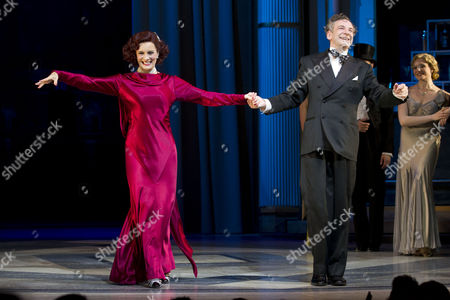 Vivien Parry (Madge Hardwick) and Martin Ball (Horace Hardwick) during the curtain call on Press Night for Top Hat at the Aldwych Theatre