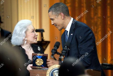 Stock Photo of Eunice David and Barack Obama