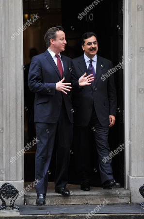 Stock Picture of David Cameron and Yousuf Raza Gilani