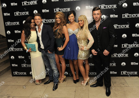 Guest, Guest, Sophie Kasaei, Holly Hagan, Charlotte Letitia Crosby and James Tindle of Geordie Shore