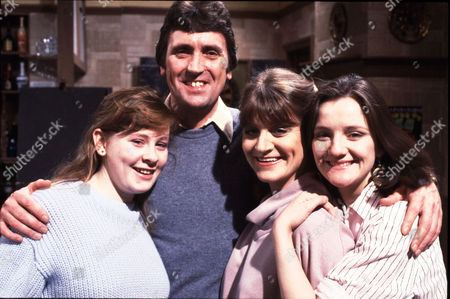 The Clayton Family: (l-r) Sue Clayton [Jane Hazlegrove], Harry Clayton [Johnny Leeze], Connie Clayton [Susan Brown], and Andrea Clayton [Caroline O'Neill]