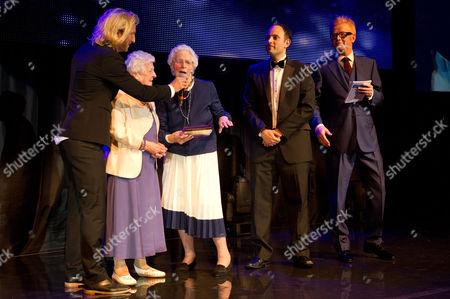 Stock Photo of Robbie Savage with Betty Smith and Beryl Renwick