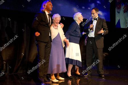 Robbie Savage with Betty Smith and Beryl Renwick