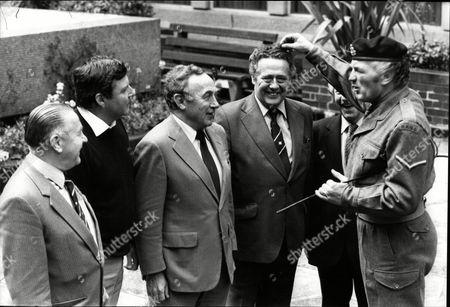 Stanley Mortenson (footballer) Peter Alliss (golfer) Bill Wright (footballer) Trevor Bailey (cricketer) And Bill Edrich (cricketer) With Henry Cooper (boxer) Dressed As Drill Sergeant For Tv Documentary 30 Years On 1983.