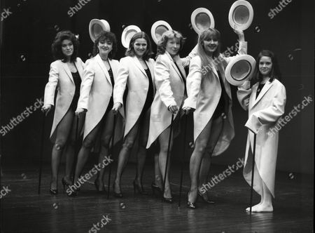 Stock Image of L To R Sabina Franklyn Daughter Of William Franklyn Sorel Johnson Daughter Of Richard Johnson Sarah Scott Daughter Of Terry Scott Pat O'toole Daughter Of Peter O'toole Liz Crowther Daugter Of Leslie Crowther And Daisy Bews Daughter Of Rodney Bewes