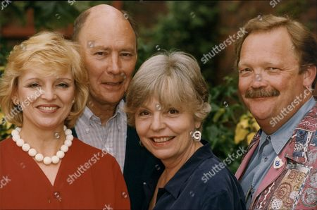 Editorial photo of The Cast Of The Play Don't Rock The Boat (ltor) Jane Rossington Garfield Morgan Pauline Yates And Michael Sharveu Martin. The Play Is At The Orchard Theatre In Dartford