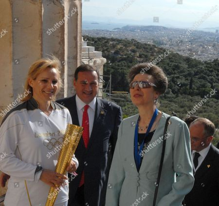 Stock Photo of Greek high jumper Niki Bakoyianni, Greek Olympic Commitee President Spyros Capralos and Princess Anne