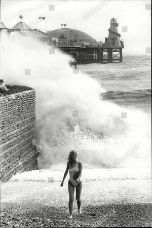 19-year-old Julie Davis On The Beach At Brighton During Windy Weather.