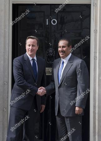Prime Minister David Cameron greeting Qatar Prime Minister Sheikh Hamad bin Jassim bin Jaber Al Thani