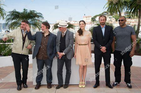 Thomas Bidegain, Bouli Lanners, Director Jacques Audiard, Marion Cotillard, Matthias Schoenaerts and Jean-Michel Correia