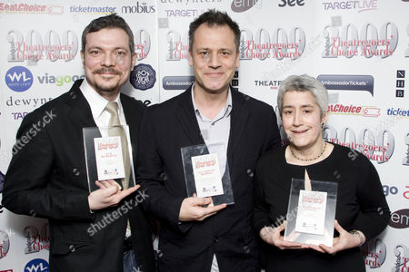 Donmar Warehouse Executive Producer James Bierman, Artistic Director Michael Grandage and Creative & Casting Associate Anne McNulty accept three Whatsonstage.com Theatregoers' Choice Awards: Best Shakespearean Production for Othello, EMG Best Play Revival for Ivanov, and SEATCHOICE Best Director for Othello, The Chalk Garden and Ivanov