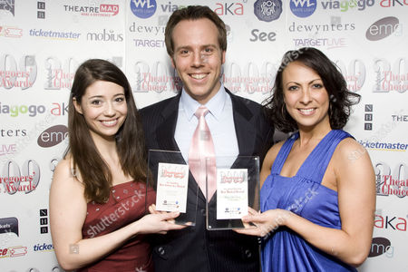 Sofia Escobar accepts the Whatsonstage.com Theatregoers' Choice Award for VIAGOGO Best Actress in a Musical for West Side Story and Daniel Koek and Jayde Westaby accept the Whatsonstage.com Theatregoers' Choice Award for TICKETMASTER Best Musical Revival for West Side Story