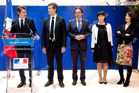 Outgoing Minister of Industrial Recovery Francois Baroin, new minister Arnaud Montebourg, Frederic Lefebvre and Sylvia Pinel Junior Minister for Crafts, Trade, and Tourism and Fleur Pellerin Junior Minister for SMEs, Innovations and Digital Economy