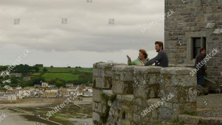 Caroline Quentin having a tour of St Michael's Mount with guide Pete Neil Wilkinson.