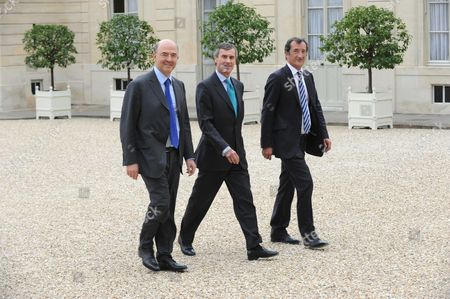 French Economy, Finance and Foreign Trade Minister Pierre Moscovici, French Junior Minister for Budget Jerome Cahuzac and French Junior Minister for Cities Francois Lamy