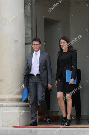 Interior Minister Manuel Valls and French Culture Minister Aurelie Fillippetti