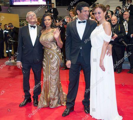 (L-R) Director Yousry Nasrallah, Nahed El Sebai, Bassem Samra, Menna Shalabipose