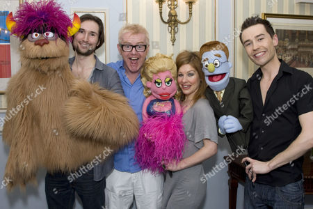 'Avenue Q' house warming party for their new home at Wyndham's Theatre, London - Tom Parsons (Trekkie Monster/Nicky), Chris Evans, Cassidy Janson (Kate Monster/Lucy the Slut) and Paul Spicer (Princeton/Rod)