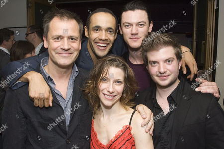 Michael Grandage (Artistic Director), Leon Lopez (Theo/Lucien), Elena Roger (Edith Piaf), Luke Evans (Yves/Raymond/Jacques) and Jamie Lloyd (Director) attend the after show party on Press Night for Piaf at Cafe des Amis, London
