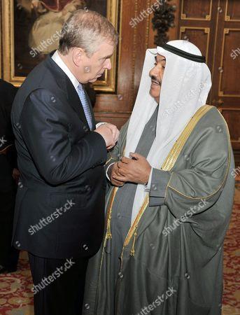 Stock Photo of Prince Andrew talks to Nasser Mohammed Al-Ahmed Al-Sabah